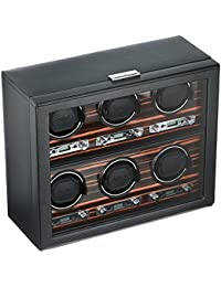 459256 Roadster 6 Piece Watch Winder with Cover, Black