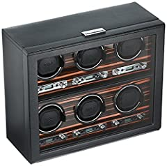 459256 Features: -Runs solely on 3.3V AC power adapter (included). -Pebble faux leather exterior, ebony macassar wood faceplate, glass front cover and chrome key lock closure. -Rotation options: Clockwise, counter clockwise and bi-directional...