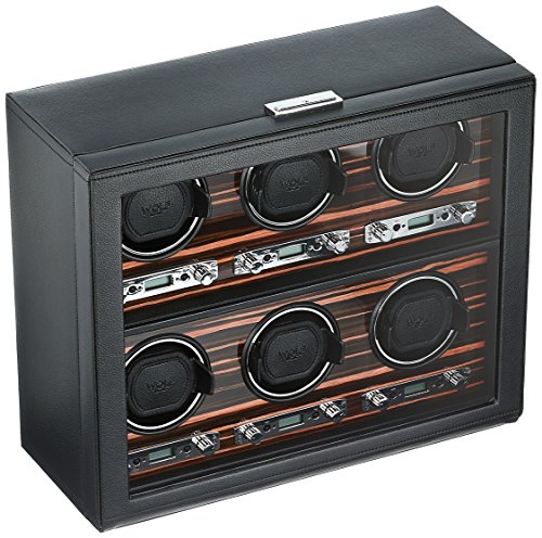 WOLF 459256 Roadster 6 Piece Watch Winder with Cover, Black from WOLF