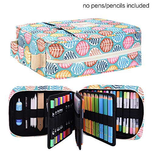 202 Colored Pencils Pencil Case - 136 Color Gel Pens Pen Bag or Marker Organizer - Universal Artist Use Supply Zippered Large Capacity Slot Super Big Professional Storage qianshan Colorful Leaf
