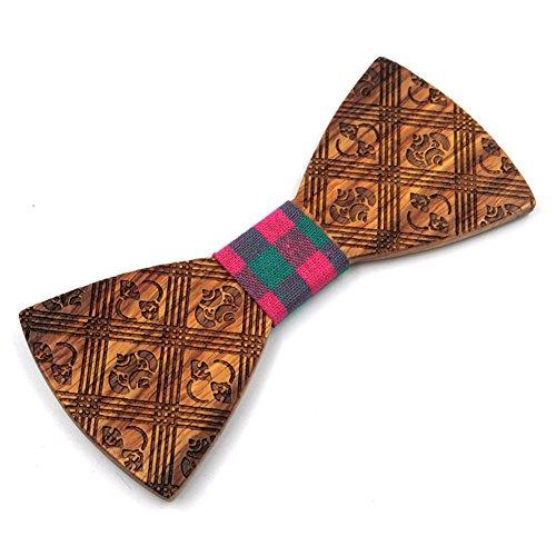 Haodasi Réglable Hommes Cravate Mode Arc Attacher Mariage Nœud papillon Fête Cadeau Bois SK-6 #08