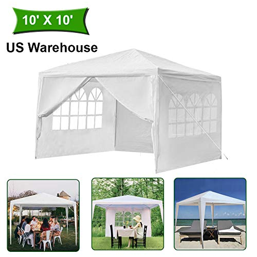 MTFY 10 x10 ft Outdoor Party Wedding Canopy Tent, Portable White Gazebo Tent for Outdoor Event Waterproof, UV Protection Beach Sun Shelter, Removable Sidewalls, Upgraded Spiral Tube