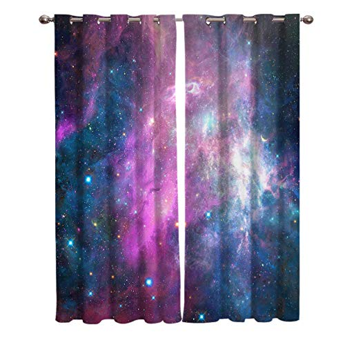 Window Treatments Curtains Room Window Panel Set for Living/Dining/Bedroom, Starry Sky Cosmic Galaxy 27.5 by 39 Inch, 2 Panels]()