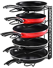 Levanco Pot Organizer Rack Pan Rack Organizer, Height and Direction Adjustable with 8+ Pots Holders, Black Metal 3DIY Cookware Rack, Pot Lid Organizer Rack for Cupboard, Kitchen, Pantry Cabinet