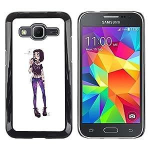 LECELL--Funda protectora / Cubierta / Piel For Samsung Galaxy Core Prime SM-G360 -- Girl Punk Funky Extravagant Fashion Purple --