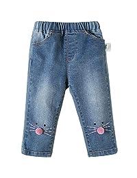 Mornyray Kids Little Baby Girl's Regular Straight Denim Pants Elastic Blue Jeans