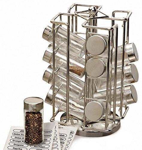 Kitchen RSVP International Revolving Chrome Rack Set, Includes 16 Spice Jars   9″ x 11.5″   Keeps Salts, Peppers, Cumin, Garlic, Cinnamon, Herbs Fresh   Comes w/Labels, One Size, Multi Color spice racks