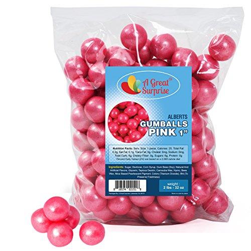 Gumballs in Bulk - Pink Gumballs for Candy Buffet - Shimmer Gumballs 1 Inch - Bulk Candy 2 LB ()