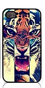 HeartCase Hard Case for Iphone 4 4G 4S (Tiger Roar Cross Hipster Quote )