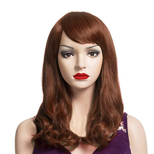 [DAOTS Medium Length Wig with Bangs Synthetic Curly Wigs for Women with Cap and Bobby Pins, Brown] (Full Bobby Light Costume)