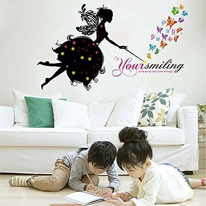 Flower Fairy Girl Butterfly Patterns DIY Wall Sticker Home Decoration  Living Room Bedroom Decor Nursery Room