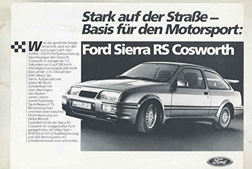 1986 Ford Sierra RS Cosworth Turbo Brochure Germany