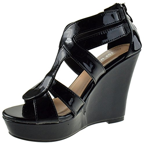 Top Strappy Platform Toe Moda Black Women's Wedge Patent Open qzSp7q4wH
