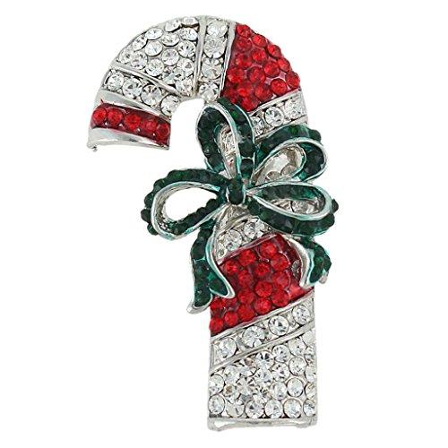 Ever Faith - Broche Candy Cane Bowknot Noël Rouge Vert Autrichien Cristal Ton-Argent N04521-2