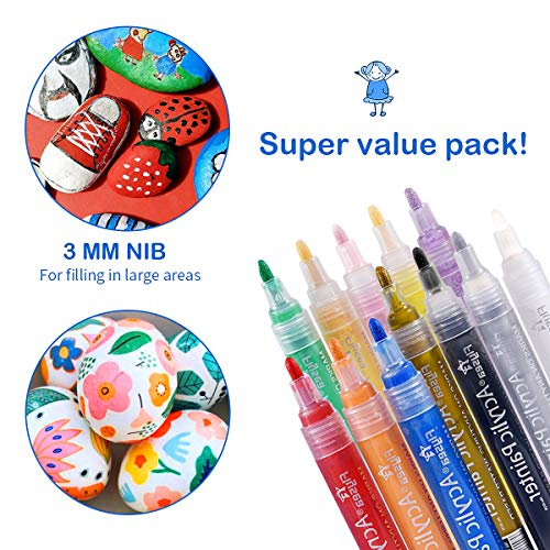 Acrylic Paint Pens,Premium Waterproof Permanent Paint Art Marker Pen Set for Rock Painting,Ceramic,DIY Craft Projects,Glass,Canvas,Mug,Metal,Wood,Easter Egg,Pumpkin.