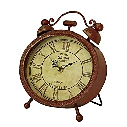 10 Battery-Operated Antique-Style Metallic Red Weathered Oval Roman Numeral Desk Clock
