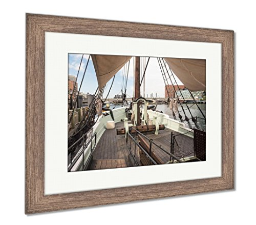Ashley Framed Prints The Boston Tea Party in Boston Ma, Wall Art Home Decoration, Color, 34x40 (Frame Size), Rustic Barn Wood Frame, -