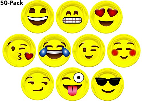 7″ Inch Emoji Paper Party Plates by LiveEco Emoji Party Supplies | 50-Pack | Includes Top 10 Most Popular Emojis | Great for Birthday Parties, Classroom Prizes, Arts & Crafts, and Games