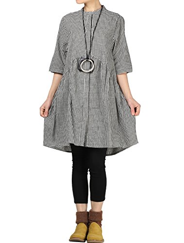 Mordenmiss Women's Plaid A-line Shirt Dress Button Down Half Sleeves Blouse Black White XXL ()