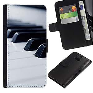 KingStore / Leather Etui en cuir / HTC One M8 / Música de piano Macro Keys