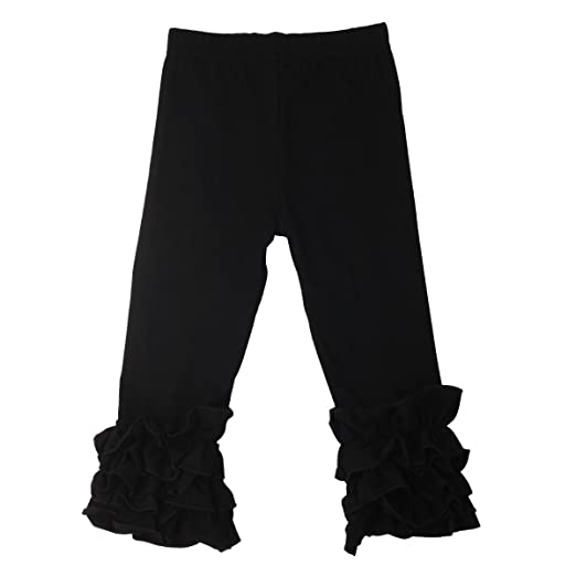 a0bcd958e70a7 Slowera Little Girls' Ruffle Leggings Baby Toddler Solid Color Flower Pants  (Black, XXXS