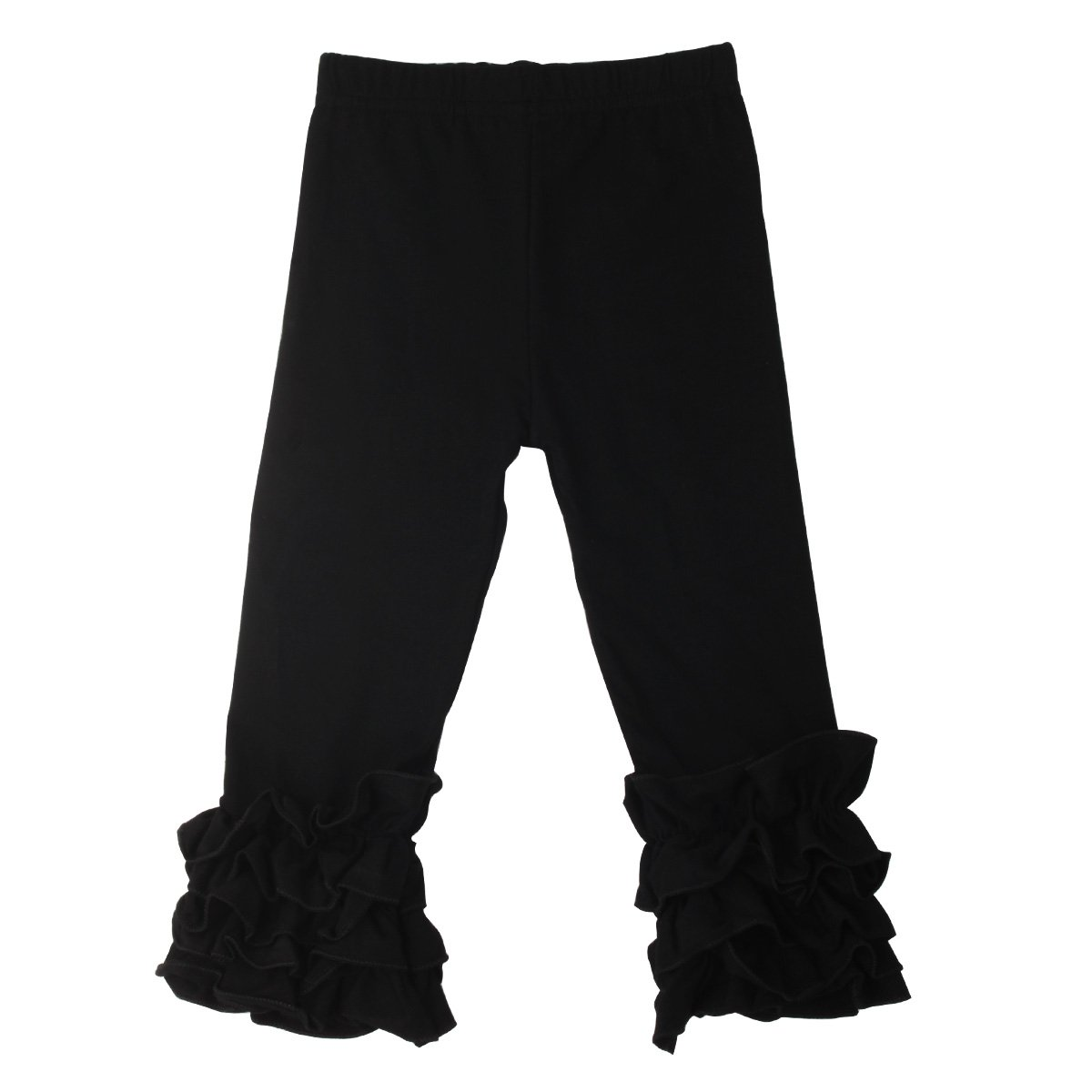 Slowera Little Girls' Ruffle Leggings Baby Toddler Solid Color Flower Pants (Black, S: 24-36 Months)
