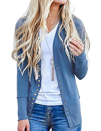 Weilim Women's V-Neck Button Down Knitwear Long Sleeve Casual Cardigans Sweater Blue L (Long Sleeve Cardigan For Juniors)