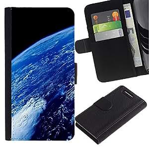 KingStore / Leather Etui en cuir / Sony Xperia Z3 Compact / Atmósfera de la Tierra Planeta Azul Océano Espacio