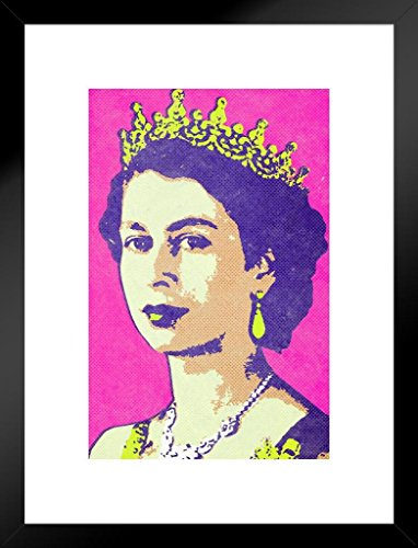 (Queen Elizabeth II Portrait Pop Art Print Matted Framed Wall Art 20x26 inch)