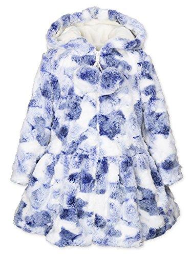 Widgeon Big Girls' Pompom Hooded Zip Faux Fur Coat 3632, BBS/Blueberry Swirl, 7 by Widgeon