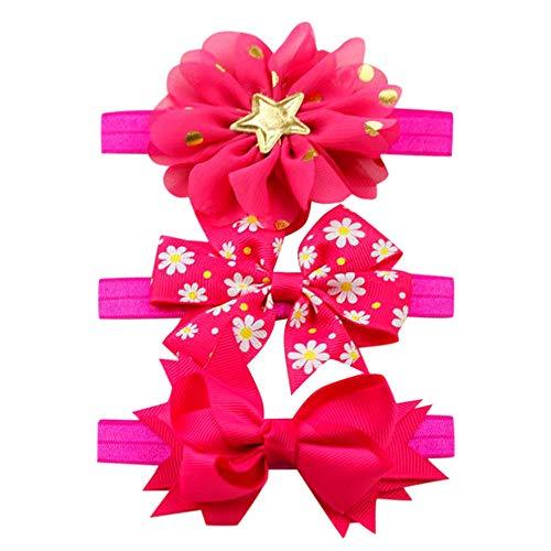 Lanhui 3Pcs Kids Elastic Floral Headband Hair ,Girls Baby Bowknot Hairband Set (6Month-8Year, Hot ()
