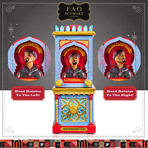 FAO Schwarz Zoltan The Fortune Teller Vintage Carnival-Style Fortune Telling Machine, Button-Activated Talking Fortunes with LED Light & Animation; Classic Retro Design in Blue/Red/Gold by FAO Schwarz (Image #3)