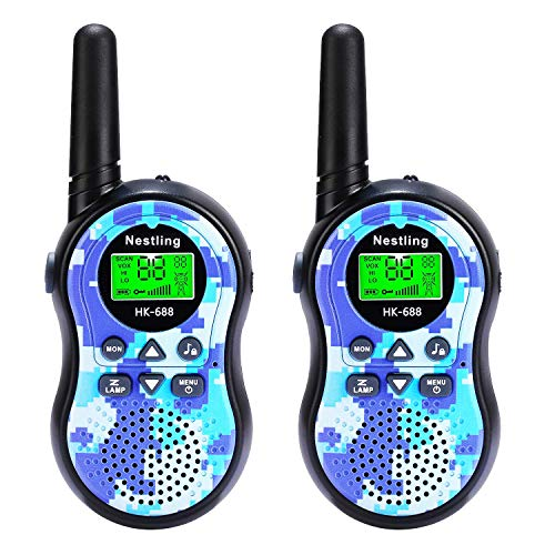Camo Walkie Talkies for Kids 22 Channel FRS GMRS Mini 2 Way Radios Walky Talky Toys for 3-12 Year Old Boys Girls Toddler Children (2 Pack, Camo Blue) ()