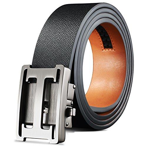 Men's Black Leather Ratchet Dress Belt jeans Uniform belts golf Mission Belt work (Metallic Reversible Belt)