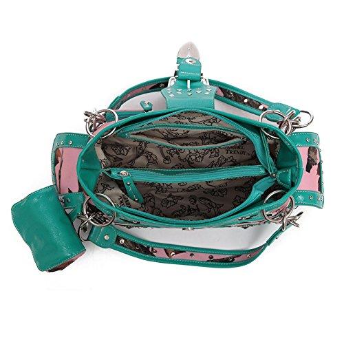 Elegante Borsa Biancheria Donne Set Leather Da Letto turq Blancho Hanbag Bag Del Sacchetto Handbag Pu foglia Moda Delle Della Portafoglio Combo Viola vnqafd