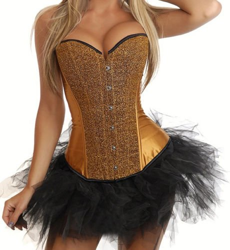 HOT! Sexy Gorgeous Burlesque Corset & Tutu/skirt Fancy Dress Outfit Sequin Gold Plus Size 14-16 2XL XXL