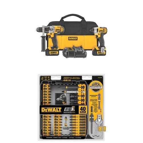 DEWALT DCK290L2 20-Volt MAX Li-Ion 3.0 Ah Hammer Drill and Impact Driver Combo Kit and DWA2T40IR IMPACT READY FlexTorq Screw Driving Set, 40-Piece