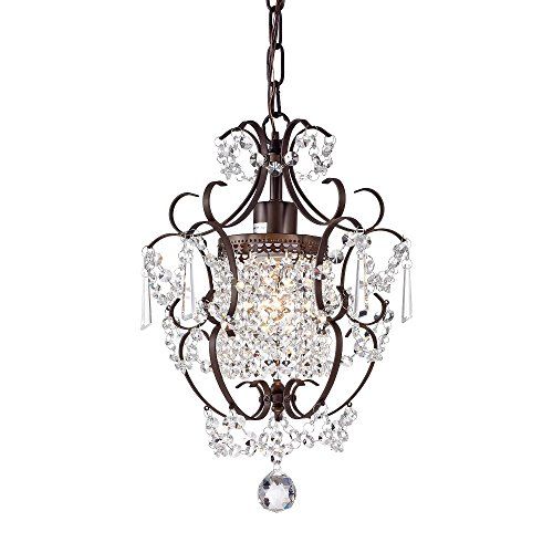 Bronze Chandelier Lighting with Crystals Wrought Iron Ceiling Light Fixture 1 Light HK011