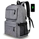Casual Laptop Backpack School Bag Daypack Bookbag with USB Charging Port Fits 15 Inch Laptop Notebook for College Students Travel Backpack Women & Men (Gray)