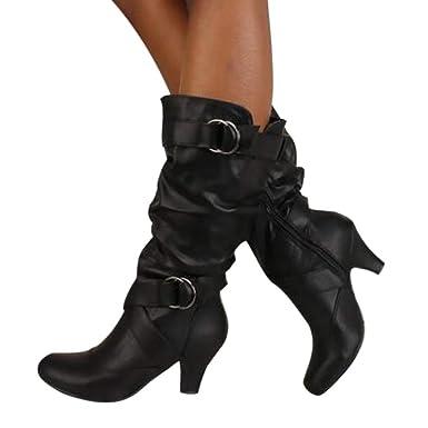big sale 0ab76 aa1bd OSYARD Damen Lederstiefel Halbschaft Stiefel Hoher Absatz Freizeit Schuhe  Schnalle Mode Sexy Frauen Overknee High Boot High Heel Lange Oberschenkel  ...