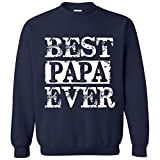 fresh tees Best Papa Ever T-Shirt Father's Day Shirt (2X-Large, Navy Blue Crew Neck Sweatshirt)