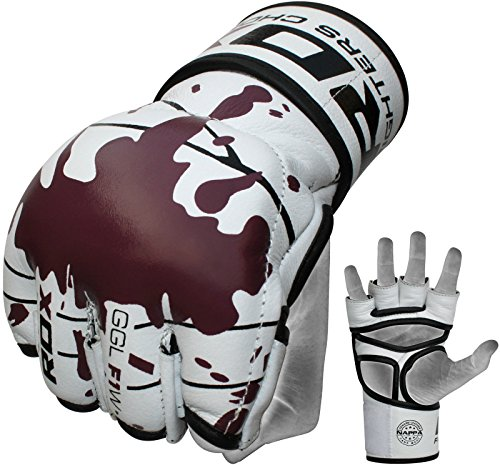 RDX Cow Hide Leather MMA Grappling Gloves Cage UFC Fighting Sparring Glove Training F1W