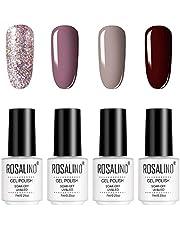 ROSALIND Uv-gelnagellak, 4 stuks, semi-permanent, led glitter nagellak, kit gel polish, 7 ml
