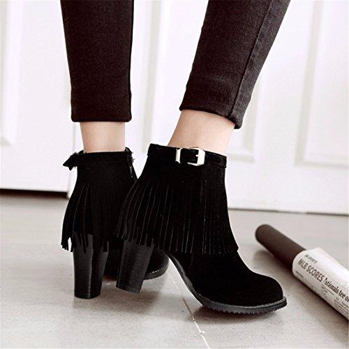 tubo tallas invierno tacón correa de moda Terry botas femenino corto de de alto grandes Black Zapatos borla botas XHxqwB55An