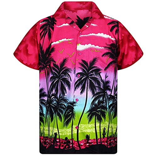 iHPH7 Shirt Beach Hawaiian Fashion Casual Button Hawaii Print Beach Short Sleeve Quick Dry Top Blouse Men's (3XL,5- Hot Pink)