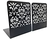 Non-Skid Metal Bookends Damascus color 5.1'' x 6.2'' x 6.7'' black (Set of 2)
