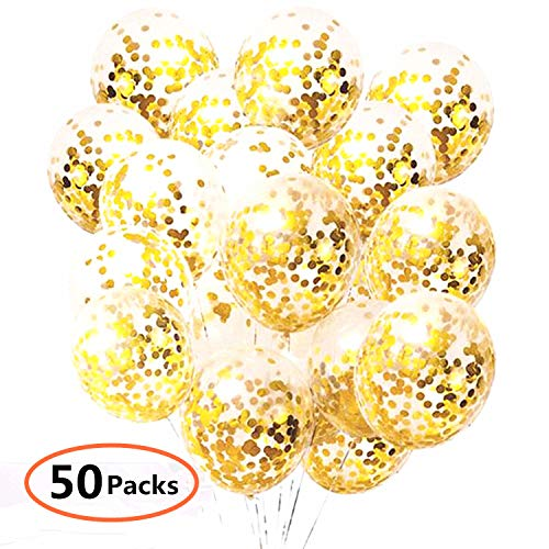Gold Confetti Balloons 50 pieces,Balloon Strap Rope 30 meters,12 Inch Latex Party Balloons with Golden Paper Confetti Dots Pre-filled, for Events Birthday Wedding Party Decorations ()
