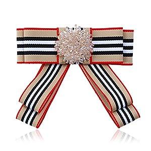 Wcysin Trendy Stain Stripe Bow Tie Ribbon Pre Tied Neck Tie with Rhinestone (Beige)
