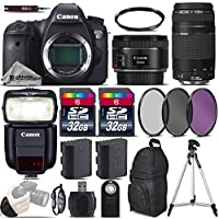 Canon EOS 6D DSLR Camera + 50mm 1.8 STM Lens + Canon 75-300mm Lens + Canon Speedlite 430EX III RT + 64GB Storage + Backup Battery + UV-CPL-FLD Filters + UV Filter - International Version