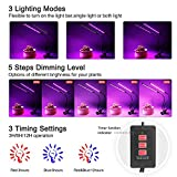 [2018 Upgrade Version] 18W Dual Head Timing Grow Light, Ankace 36 LED 5 Dimmable Levels Plant Grow Lights for Indoor Plants with Red/Blue Spectrum, Adjustable Gooseneck, 3/6/12H Timer, 3 Switch Modes